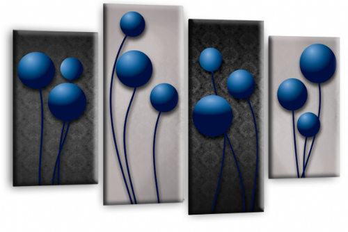 Abstract Floral Flower Picture Print Canvas Split Wall Art Grey Blue